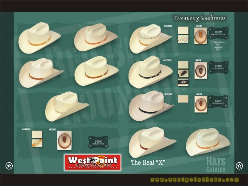 West Point >> West Point International Hats... Styles.. Estilos... Western Hats... Sombreros Vaqueros...